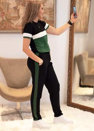 Conjunto moletinho com elastano calça e blusa t-shirt, moda comfy, tamanho g