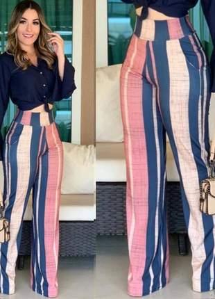 Calça pantalona listrada feminina cintura alta