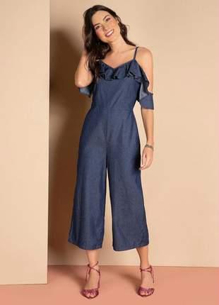 Macacão feminino de alças jeans com bolsos funcionais