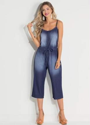 Macacão feminino pantacourt jeans amarração na cintura