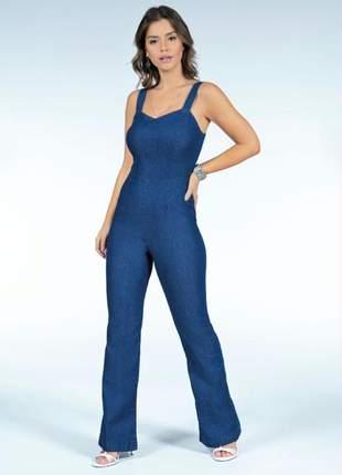 Macacão feminino jeans com zíper nas costas