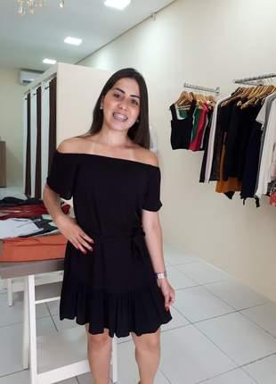 Vestido feminino curto com babado ombro a ombro rodado ciganinha tecido viscolinho liso