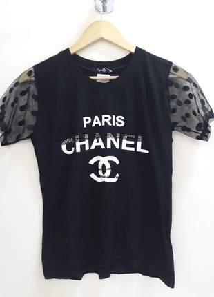 Camiseta t-shirt feminina personalizada paris chanel com manguinha em tule poá
