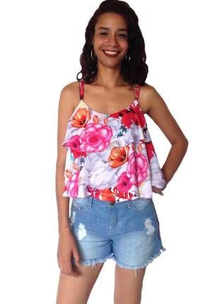 Blusa feminina ciganinha estampa floral