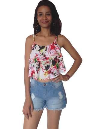 Blusa feminina cropped estampa abstrato