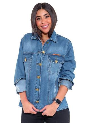 jaqueta Camisa jeans curta Feminina manga longa Revanche