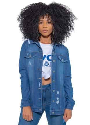 Jaqueta feminina revanche max bolsos jean cor tradicional