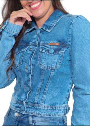 jaqueta jeans curta Feminina manga longa Revanche