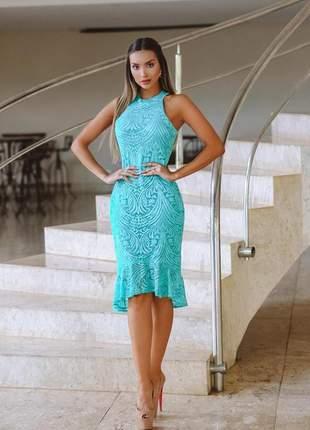 Vestido tifani verde azul  midi renda festa