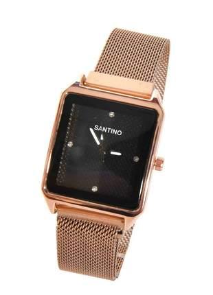 Relógio Quartz Santino feminino quadrado analógico caixa aço