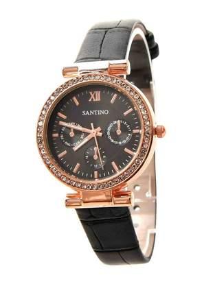 Relógio Santino feminino redondo analógico couro strass