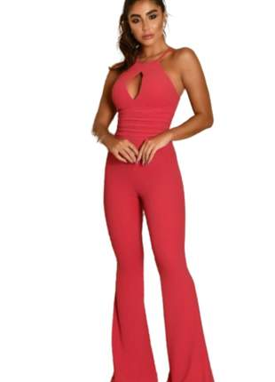Macacão Feminino Longo Pantalona Alça Rosa
