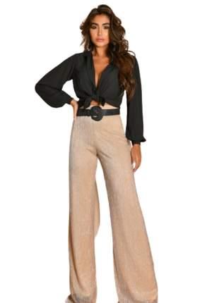 Calça Feminina Cintura Alta Pantalona Plissada Bege