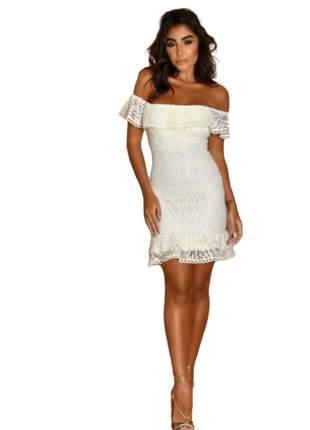 Vestido Feminino Midi Tomara que Caia Babado Estampado Branco