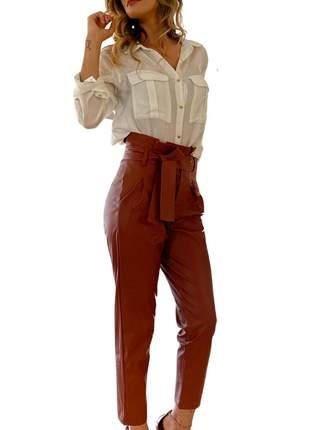 Calça Feminina Cintura Alta Kim Terracota