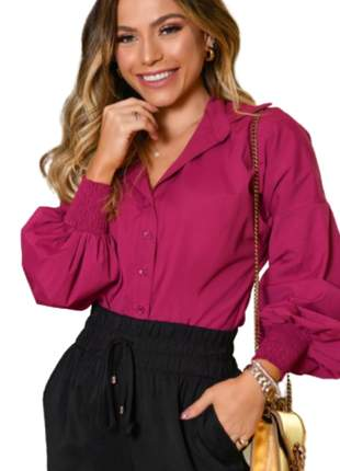 Camisa Blusa Feminina Social Lisa Manga Longa Violeta
