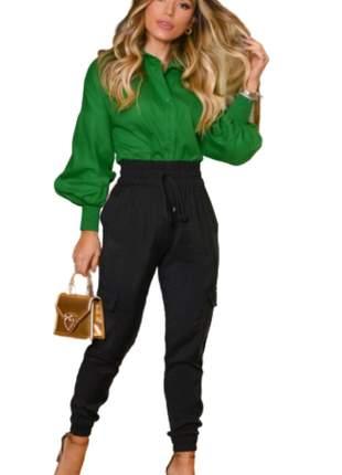 Camisa Blusa Feminina Social Lisa Manga Longa Verde