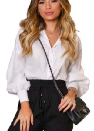 Camisa Social Feminina Lisa Manga Longa Branco