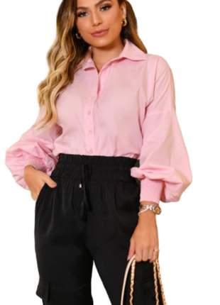 Camisa Social  Feminina Lisa  Manga Longa Rosa