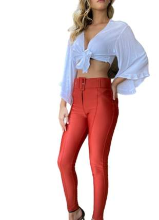 Calça Feminina Cintura Alta Skinny com Cinto Laranja