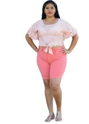 Short Jeans Feminino Plus Size Cintura Alta Levanta Bumbum