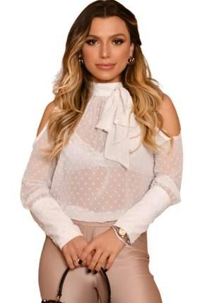 Blusa Feminina Transparente com Laço Branca