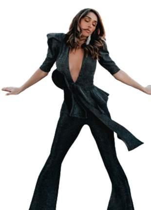 Macacão Feminino Longo Pantalona Nice com Laço Preto
