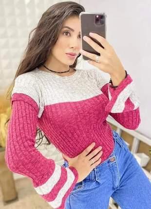 Blusa manga longa flare de tricô outono inverno
