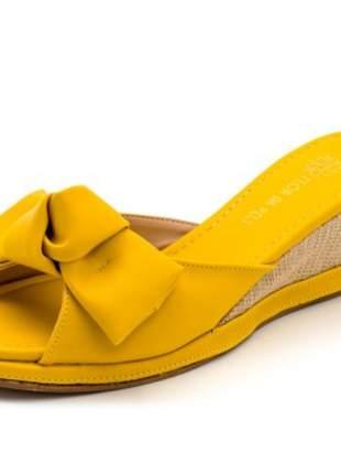 Sandália tamanco anabela salto médio boneca feminina confortável ref 187708