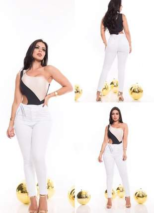 Calça moda clochard sarja branca com lycra