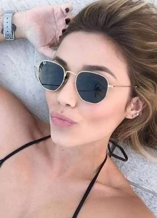 Óculos de sol ray ban hexagonal preto ou dourado feminino proteção uv 400