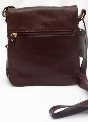 Bolsa feeling estilo carteiro alça transversal regulável em couro legítimo modelo 17777