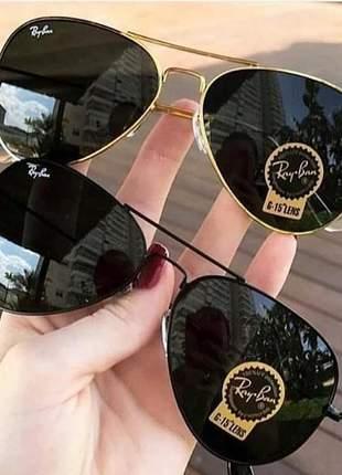 Kit 02 óculos de sol ray ban aviador preto e preto com dourado