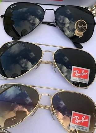 Kit 03 óculos de sol ray ban aviador preto, preto com dourado e marrom degrade com dourado