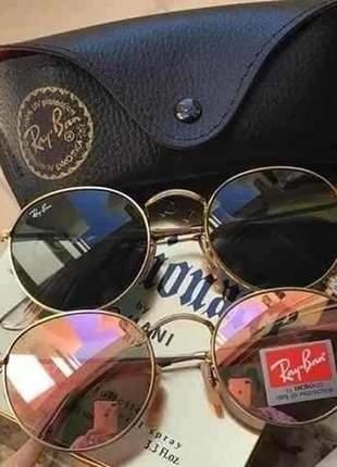 Kit 02 oculos de sol ray-ban round preto e rosé com dourado proteção uv 400