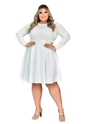 Vestido midi noiva godê plus size casamento civil branco