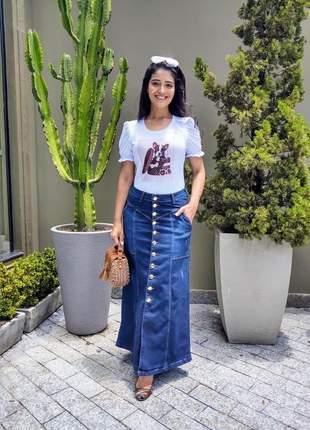 Saia jeans longa evasê tipo joyaly moda evangélica feminina