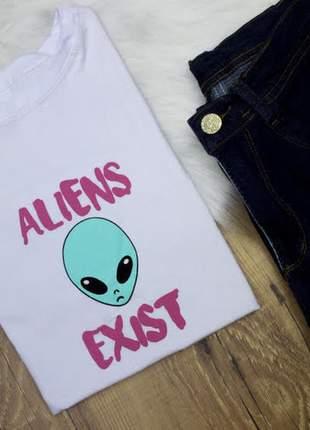 Blusa camiseta t-shirt estampada aliens exist malha