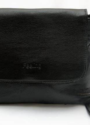 Bolsa feeling em couro legítimo com alça transversal regulável modelo 20207 preto