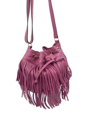 Compartilhar:  bolsa feminina saquinho de franja couro alça transversal