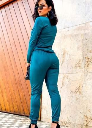 Conjunto em suede feminino manga longa com bolso só frontal