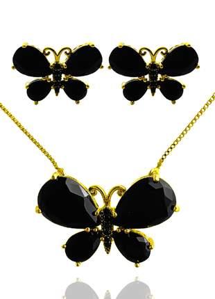 Brinco e colar de borboleta com pedra preta
