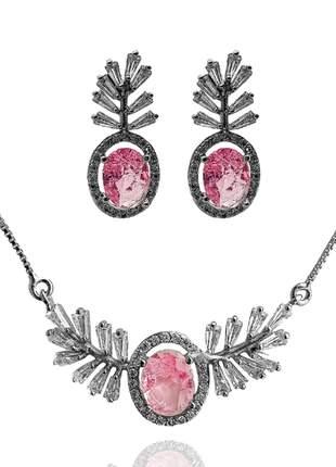 Conjunto de brinco e colar folhas com pedra rosa