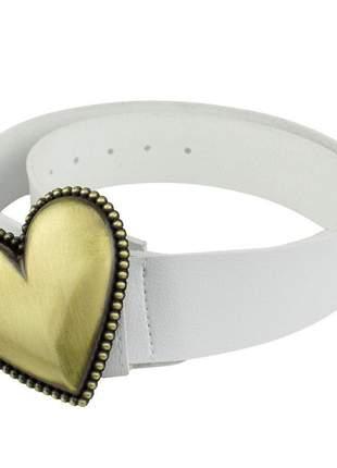Cintos femininos couro sintético alta durabilidade fivela de coração branco com dourado
