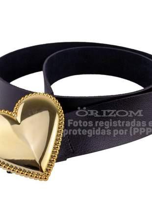 Cintos femininos em couro sintético alta durabilidade fivela coração preto com dourado