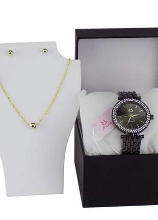 Relógio feminino pulseira de aço analógico confortável elegante + par de brinco e colar