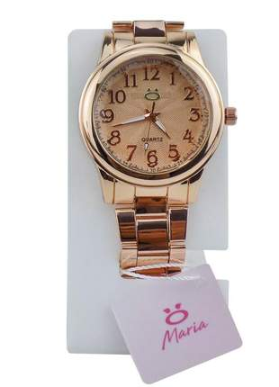 Relógio feminino pulseira de aço analogico confortavel elegante coleção maria