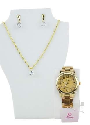 Relógio feminino pulseira aço analógico confortável elegante coleção maria + colar/ brinco