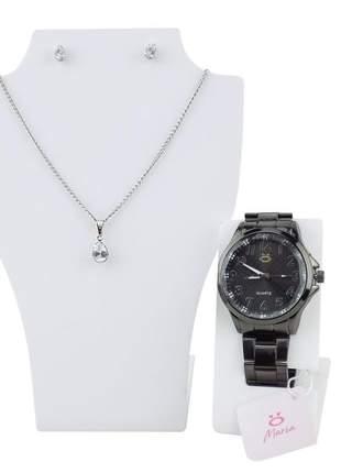 Relógio feminino pulseira aço analógico confortável elegante coleção maria + colar/brinco