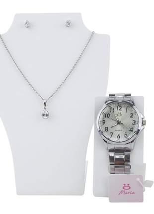 Relógio feminino pulseira aço analógico confortável elegante coleção maria + colar /brinco